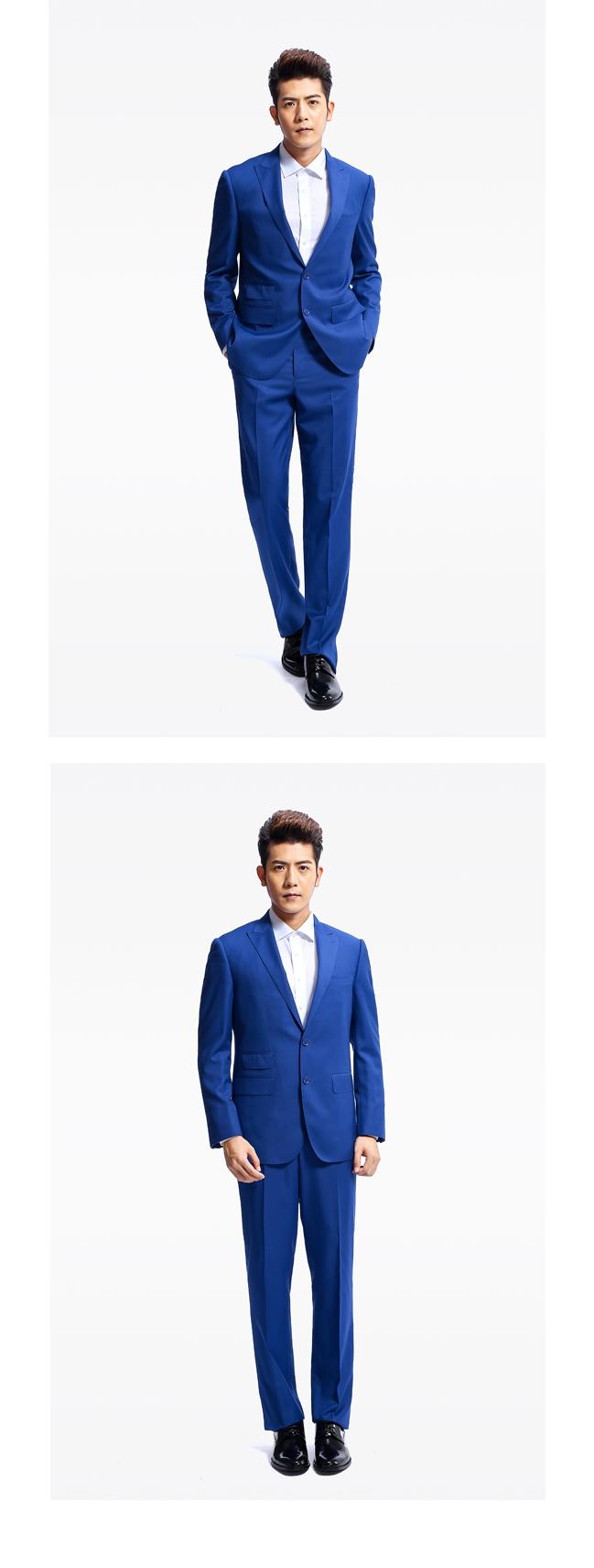 BADIMILAN万博manbetx苹果APP修闲宝蓝色两粒扣戗驳领时尚西装