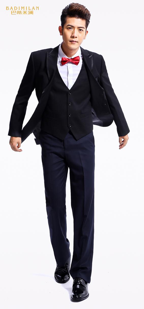 BADIMILAN万博manbetx苹果APP礼服修身中长款单排扣礼服