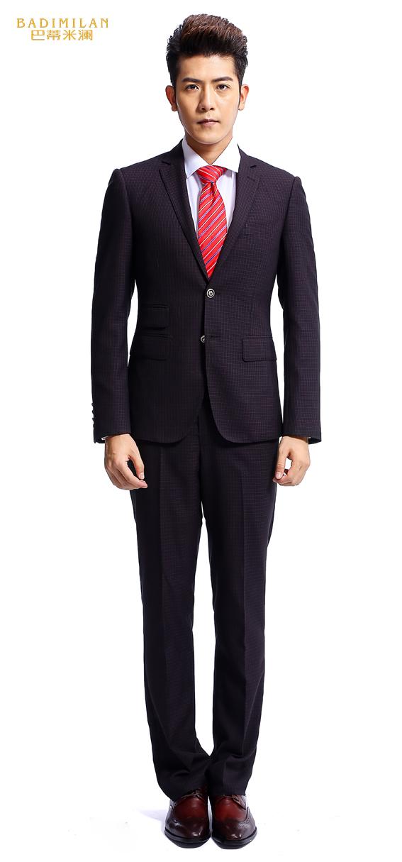 BADIMILAN万博manbetx苹果APP暗红色格子绅士之选纯手工高定西装