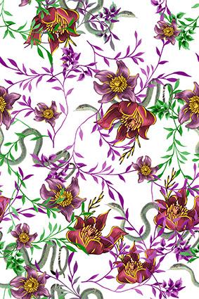 手绘植物蛇皮花型