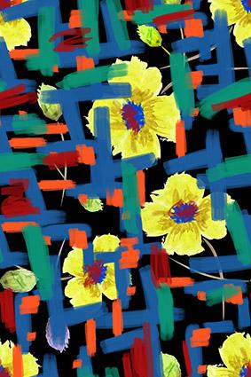 黑底水彩画笔花卉