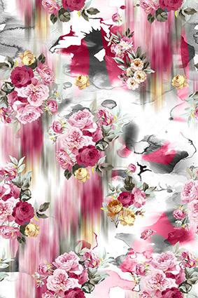 虚影水彩粉色花卉