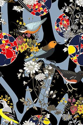 金枝玉叶渐变花鸟