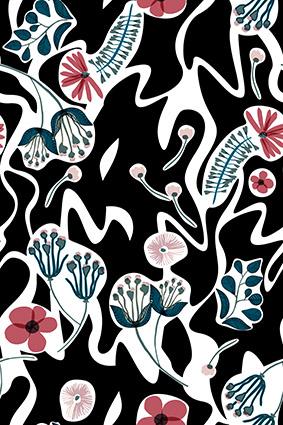 卡通素描植物花色