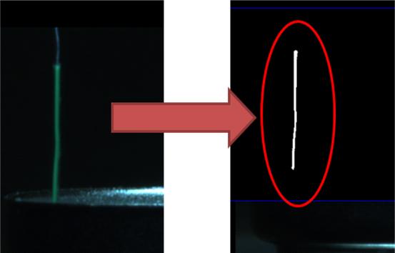 电池极耳有无视觉检测极耳颜色为绿色,与周围背景色差非常明显。