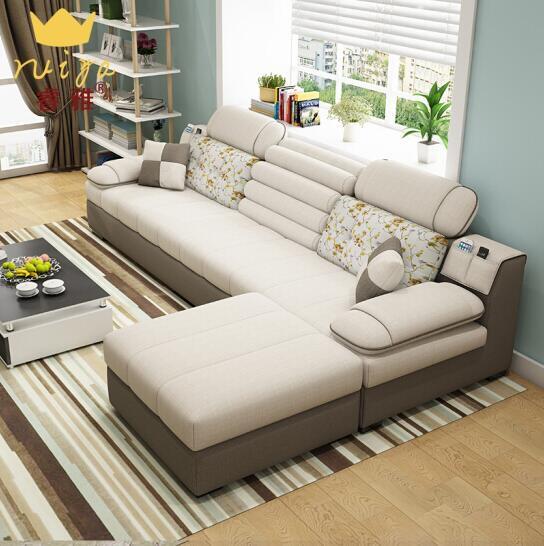 沙发 布艺沙发 小户型北欧简约客厅整装转角沙发床茶几电视柜组合 可拆洗 标准版