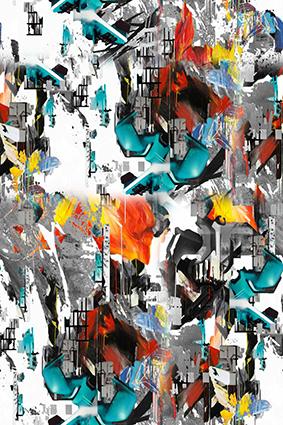 抽象古楼碎片图饰