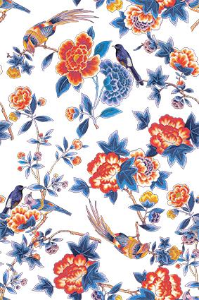 复古手绘植物花鸟