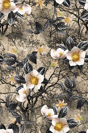复古树梢植物花型