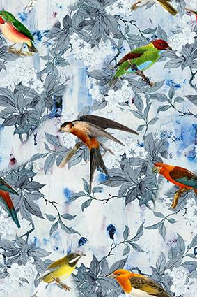 小鸟燕雀淡雅花叶