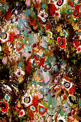 神庙雕像色彩花卉