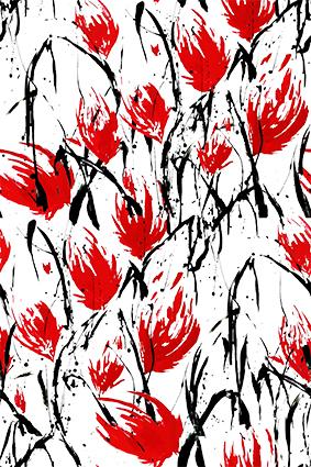 矢量平面红花黑色笔刷