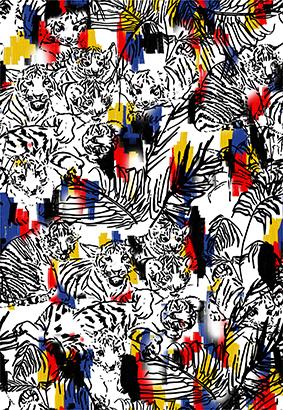 素描老虎线条树叶花
