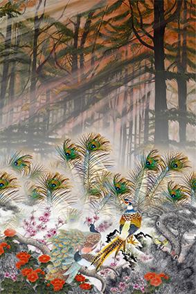 风景树林装饰花鸟