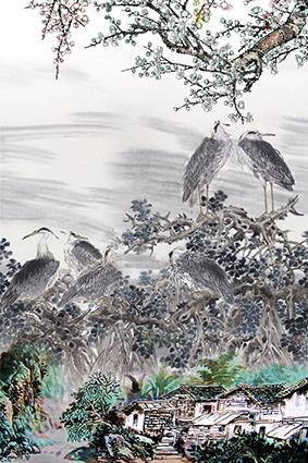 古风水彩房屋鸟群