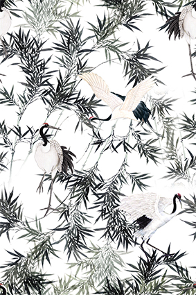 尖角树叶小鸟仙鹤