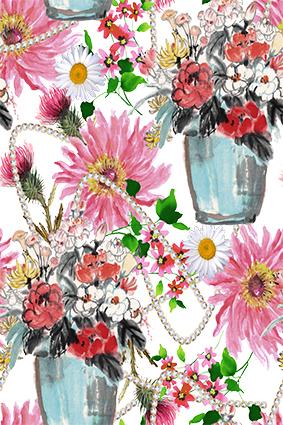 手绘花瓶珠宝项链