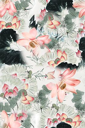 水墨荷叶粉色莲花