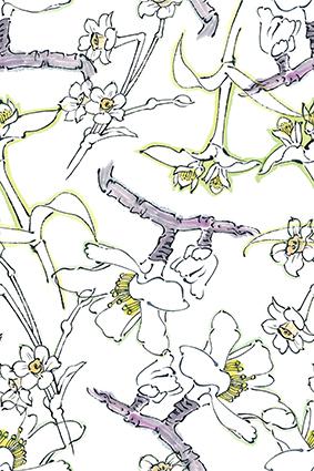 素描水墨线条植物