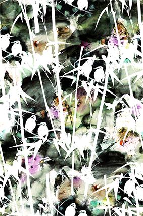 白色竹叶花渲染花底