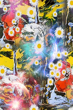抽象流体炫彩太阳花