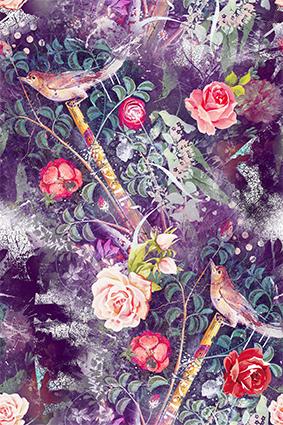 粉磨花朵妖艳图绘小鸟
