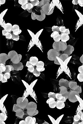 灰白花朵交叉羽毛
