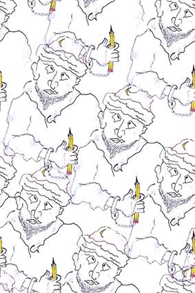 素描铅笔老头人物