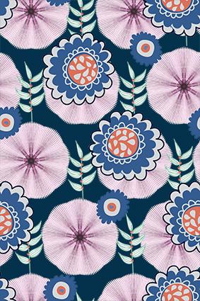 线条纸扇色块花