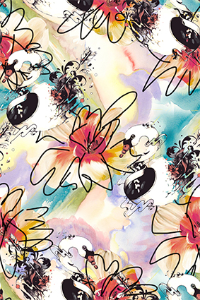 炫彩动物线条花