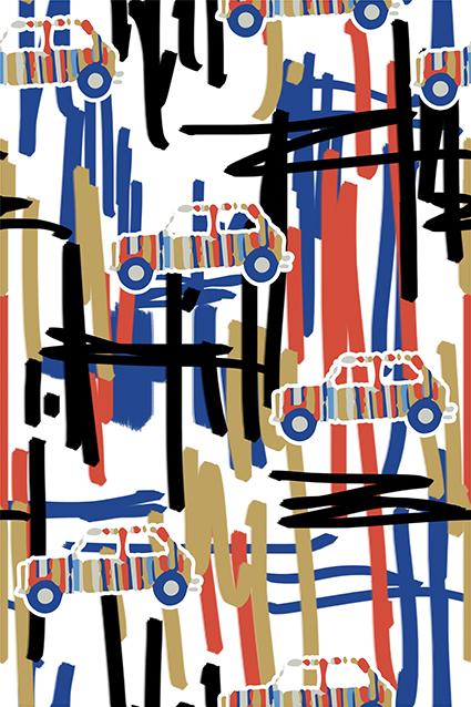 卡通汽车叠加线条