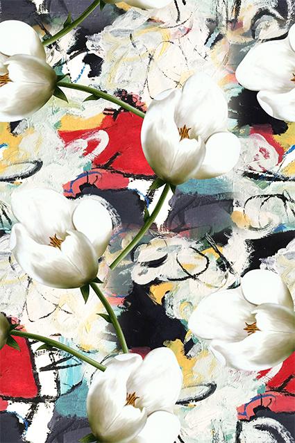 洁白抽象淡雅花朵