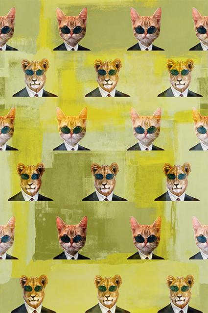 几何绿底眼睛猫科动物