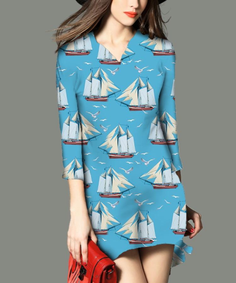 浅蓝海鸥帆船图案