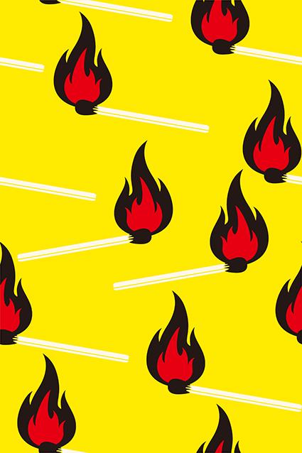 黄色底火柴矢量火焰