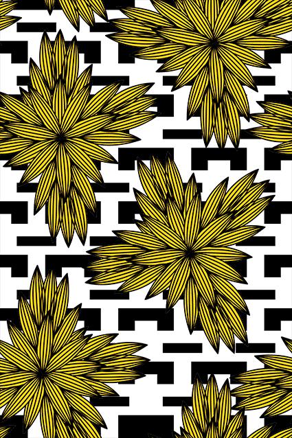 线条色块矢量花卉