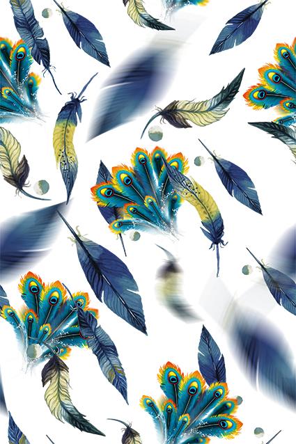 虚影树叶孔雀羽毛