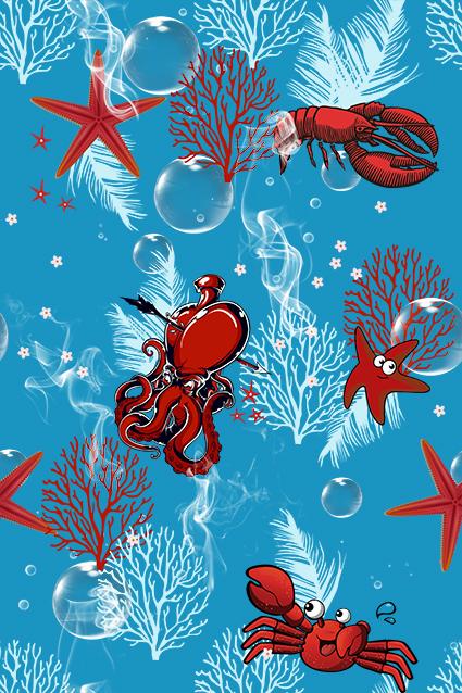 海底植物大龙虾海王星