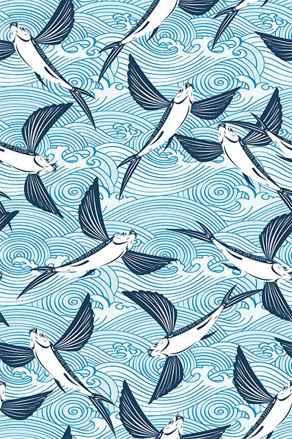 线条海浪翅膀飞鱼