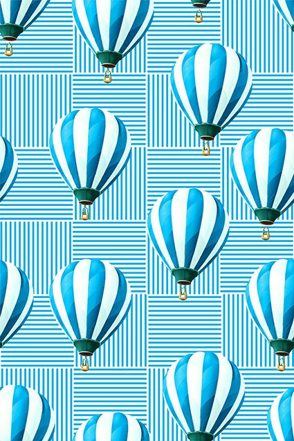 线条方格热带气球