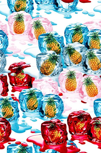 冰块菠萝草莓水果