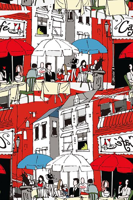 休闲时光餐饮卡通图案