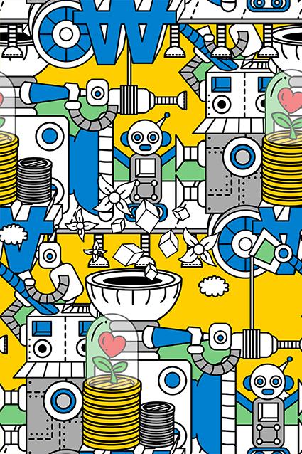 素描卡通机器人图案