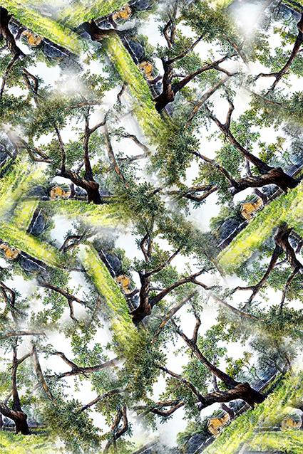 植物树梢印花图案