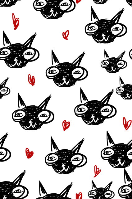 简约原创素描小猫咪