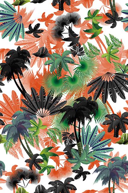 真彩矢量手绘羽毛树叶
