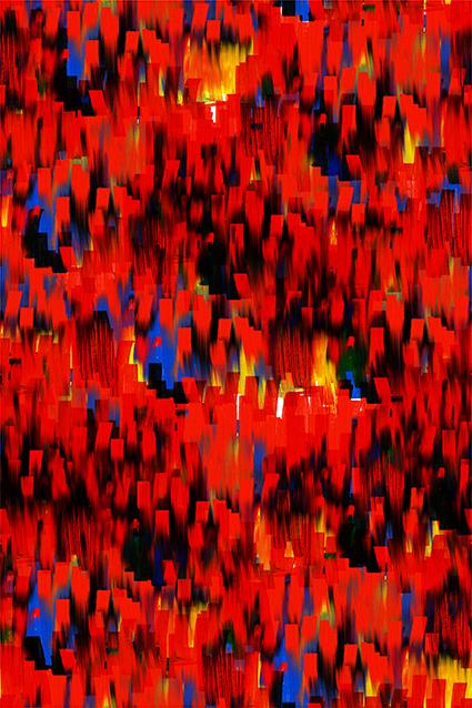 红色图绘装饰水彩花