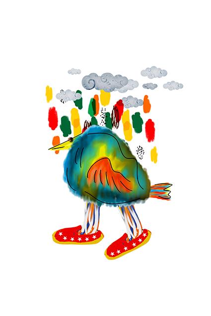 卡通炫彩云朵小鸟