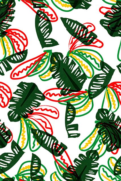 绿色植物涂鸦花色