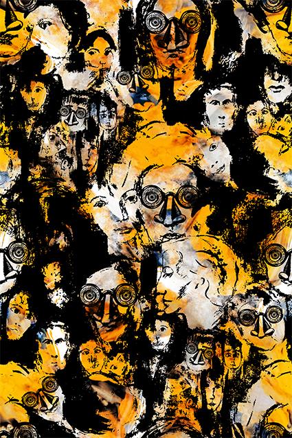 抽象涂鸦眼镜人物